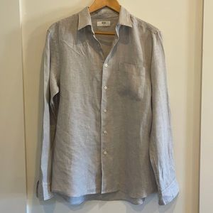 Uniqlo Linen button down SHIRT in light gray, size M